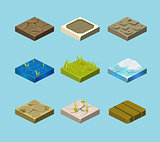 Set of ground surfaces. Grass, rocks and water. Landscape web design. Vector