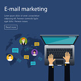 flat design concept of e-mail marketing