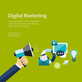 Digital marketing flat. Hand with speaker and icons
