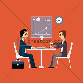 Business people, two men at the table negotiating Flat style
