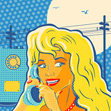 Pop Art Style Girl With Phone