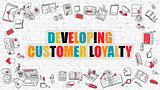 Developing Customer Loyalty on White Brick Wall.