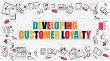 Developing Customer Loyalty on White Brick Wall.