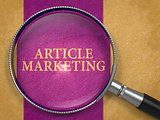 Article Marketing Concept through Magnifier.