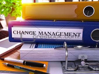 Blue Office Folder with Inscription Change Management.