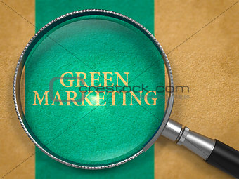 Green Marketing Concept through Magnifier.