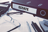 Estate on Office Folder. Toned Image.
