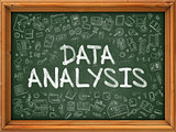 Data Analysis Concept. Green Chalkboard with Doodle Icons.