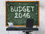 Budget 2016 - Hand Drawn on Green Chalkboard.