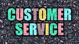 Multicolor Customer Service on Dark Brickwall. Doodle Style.