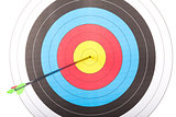 Arrow hit goal ring in archery target