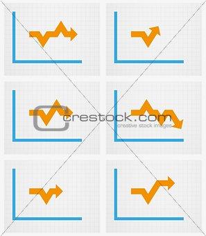 six charts with arrow