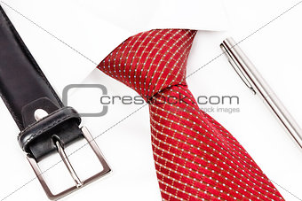 tie knotted Windsor with accessories