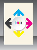 Cmyk brochure with color arrows and white 3d circle
