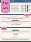 Modern resume cv with pink ribbon