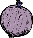 Whole raw red onion illustration