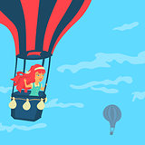 Vector Girl in a balloon