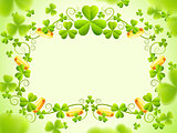 St Patricks holiday frame with green clover leaves