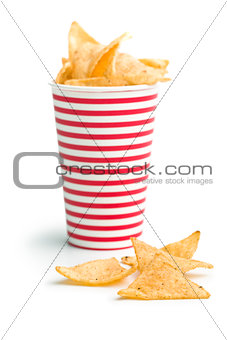 tortilla chips in paper cup