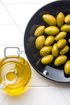 green olives on plate