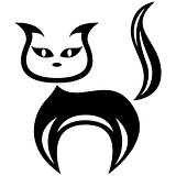 Stylized amusing black cat