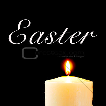 a lit candle and the text easter