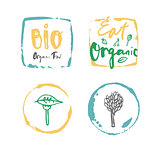 Vector bio organic food label set