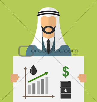 Arabic Businessman Holding Banner with Graphic of Oil Prices Up