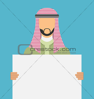 Arab saudi promoter man holding a blank horizontal sign