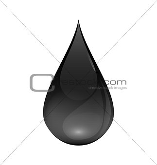 Brent Oil Drop black icon isolated on white