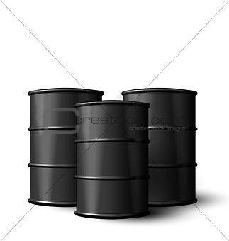 Three Realistic Black Metal of Oil Barrels Isolated