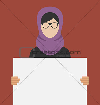 Arabic Woman Holding a Blank Horizontal Banner