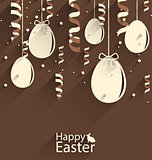 Happy Easter Chocolate Background with Eggs and Serpentine