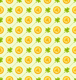Seamless Pattern with Clovers and Golden Coins for St. Patricks