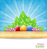 Easter Background with Eggs, Leaves, Flowers