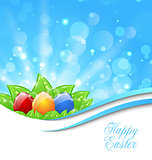 Spring Background with Easter Colorful Eggs