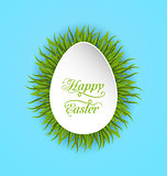 Happy Easter Paper Card in Form Egg with Green Grass