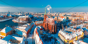 Aerial panorama of Wroclaw in the winter morning