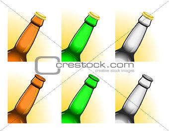 Tilted beer bottle necks