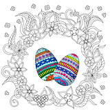 eggs decoration with doodle flowers