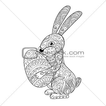 cartoon rabbit with egg