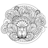 doodle flowers, herb and mandalas
