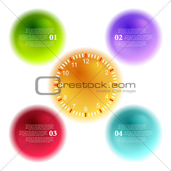 Bright 3d balls and clock for infographic design