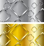 Abstract tech metallic and golden banners