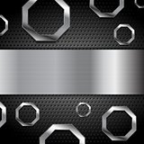 Abstract metal background with octagons