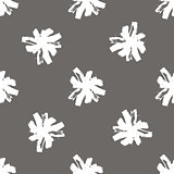 Floral seamless pattern of stroke chamomilepattern. Grunge white and black flowers