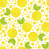 Hand drawn seamless texture with floral elements and lemons. Vector background