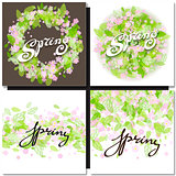 White spring sign over floral background.