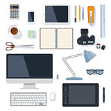 Office supplies collection on white
