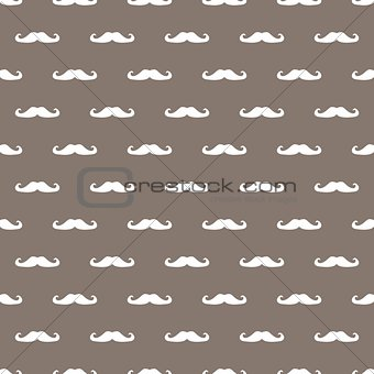 Tile vector pattern with white mustache on brown background